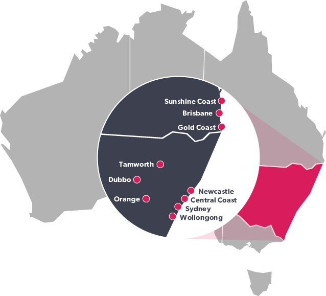 Regional reach map for New South Wales